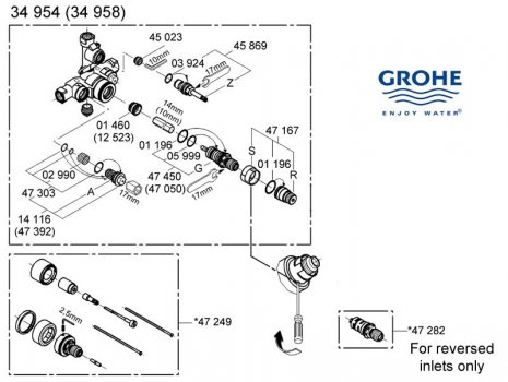 Shower Spares For Grohe Mixer Valve 34954 000 Grohe