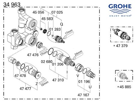 grohe mixer valve 000 000 shower spares