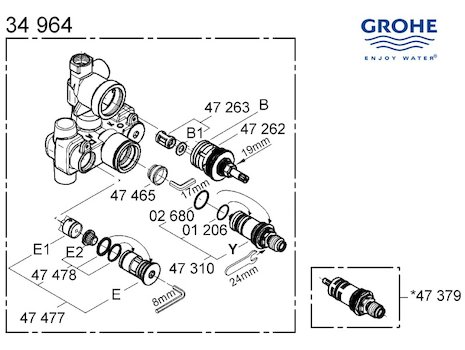 Grohe mixer valve - 34964 000 (34964 000) spares breakdown diagram