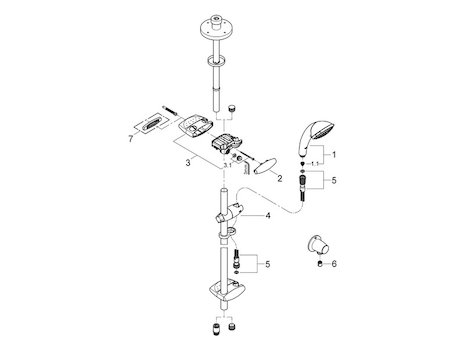 Grohe Movario Trio 900mm shower rail set - chrome (28992 000) spares breakdown diagram