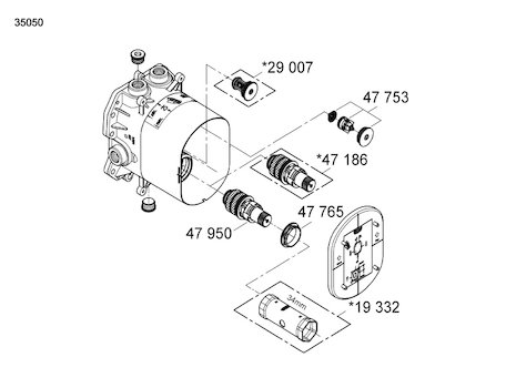 Grohe Rapido 35050 TMV2 mixing valve only (35050 000) spares breakdown diagram