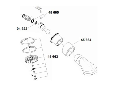 Grohe Relexa Plus fixed shower dual - Chrome (28189 000) spares breakdown diagram
