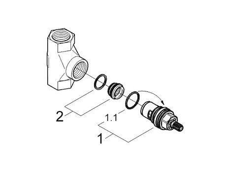 "Grohe Stop Tap 1/2"" Concealed (29811 000) spares breakdown diagram"