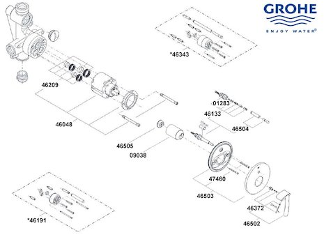 Grohe Tenso - 19050 000 (19050 000) spares breakdown diagram