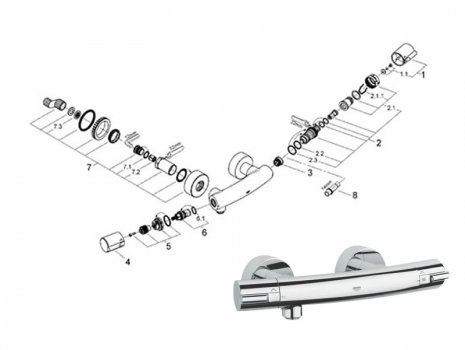 Grohe Tenso bar mixer shower (34027 000) spares breakdown diagram