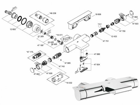 Grohtherm 2000 New thermostatic bath/shower mixer (34466 001) spares breakdown diagram