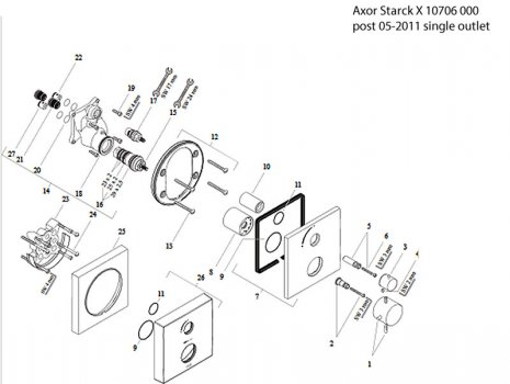 Hansgrohe Axor Starck X shower single outlet (10706000) spares breakdown diagram