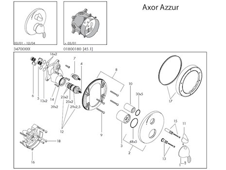 hansgrohe axor azzur shower valve spares
