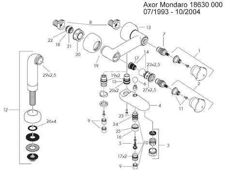 Hansgrohe Handle Fixing Set Adapter Hansgrohe 94184000
