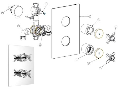 Heritage Dawlish dual control concealed valve (SDC04) shower spares breakdown diagram