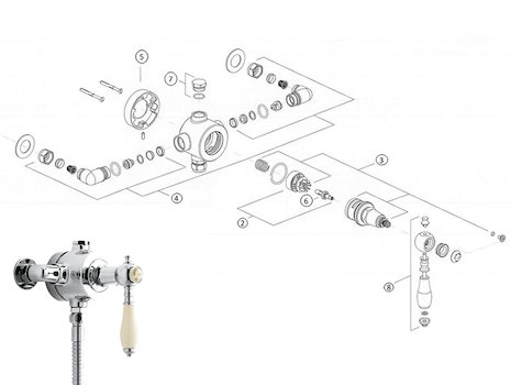 Heritage Glastonbury single control exposed valve (SGC01) shower spares breakdown diagram