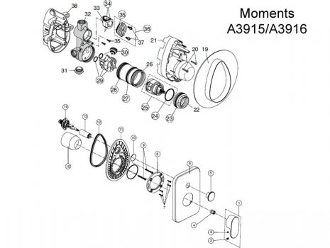 Ideal Standard Moments (A3915/A3916) spares breakdown diagram