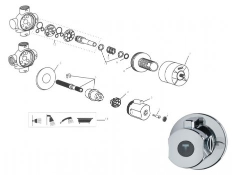 Ideal Standard2 way shower diverter for high pressure systems (A4820AA) spares breakdown diagram