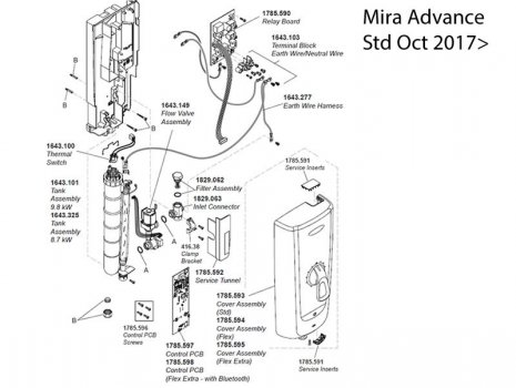 Mira Advance Thermostatic Electric Shower - 8.7kW (1.1785.001) spares breakdown diagram