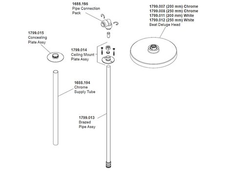 Mira ceiling shower arm fitting (1.1799.006) spares breakdown diagram