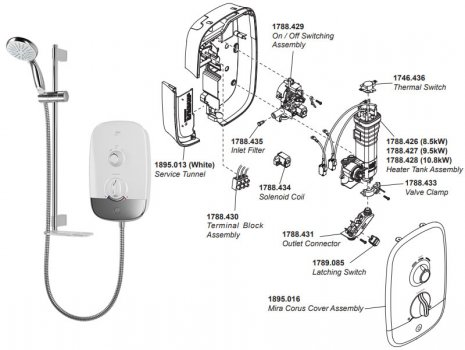 Mira Corus electric shower - white/chrome (Corus) spares breakdown diagram