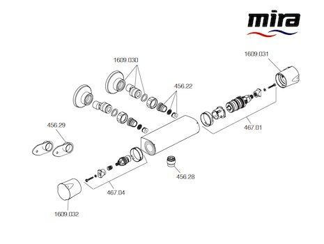 Mira Discovery Bar Mixer (1.1609.001) spares breakdown diagram