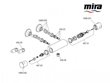 Mira Discovery bar mixer - valve only (1.1609.004) spares breakdown diagram