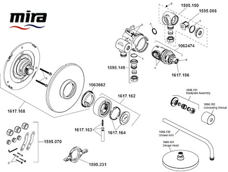 Mira Element BIR Thermostatic Mixer Shower - Chrome Pre Feb 2018 (1.1656.003) spares breakdown diagram