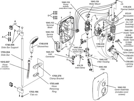 Mira Elite QT Pumped Electric Shower 9.8kW - White/Chrome (1.1845.001) spares breakdown diagram