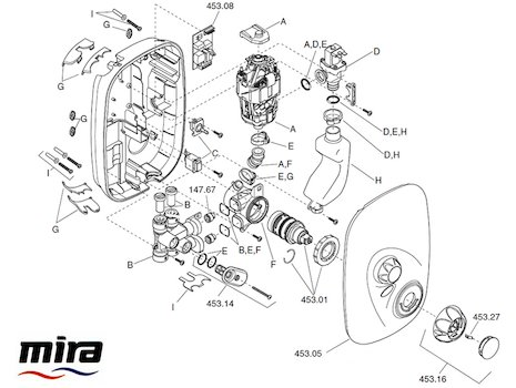 Mira Event XS Thermostatic MK1 (1532.002) spares breakdown diagram