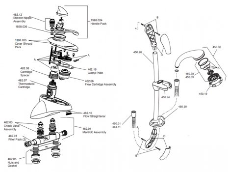 Mira Excel thermostatic bath/shower mixer EV - chrome (1.1598.001) spares breakdown diagram
