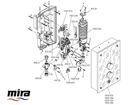 Mira Galena Thermostatic Electric Shower 9.8kW - Slate Effect (1.1634.117) spares breakdown diagram