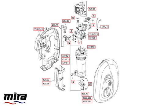Mira Go Electric Shower 10.8kW - White/Chrome (1539.375) spares breakdown diagram