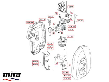 Mira Go MK3 Electric shower (2007-2013) spares breakdown diagram