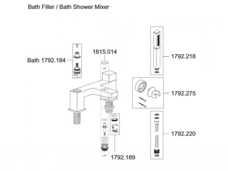 Mira Honesty bath filler tap (2.1815.004) spares breakdown diagram