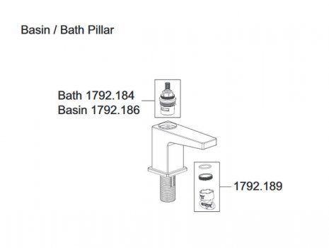 Mira Honesty bath pillar taps (2.1815.003) spares breakdown diagram