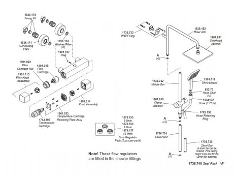 Mira Honesty ERD Thermostatic Bar Mixer Shower with Diverter - Chrome (1.1901.002) spares breakdown diagram