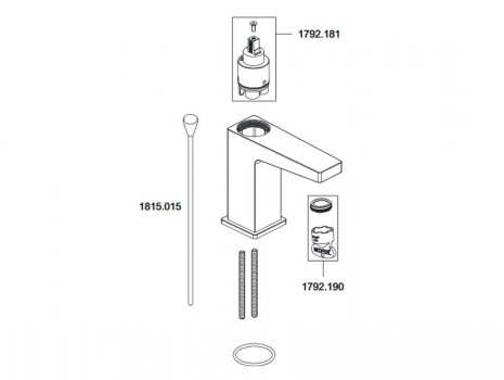Mira Honesty monobloc basin mixer tap (2.1815.001) spares breakdown diagram