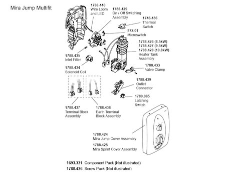 Mira Jump MK2 Multi-Fit Electric Shower 8.5kW - White/Chrome (1.1788.010) spares breakdown diagram