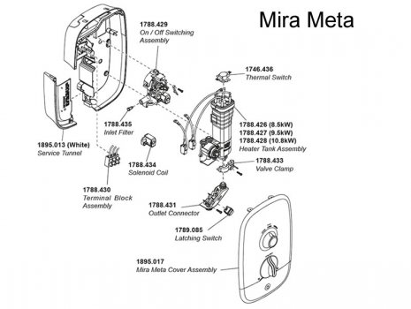 Mira Meta Electric Shower 10.8kW (1.1895.006) spares breakdown diagram