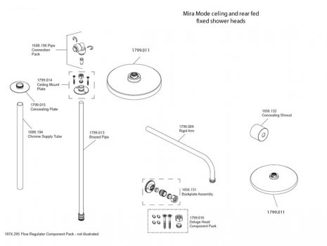 Mira Mode digital BIR shower head fittings spares breakdown diagram