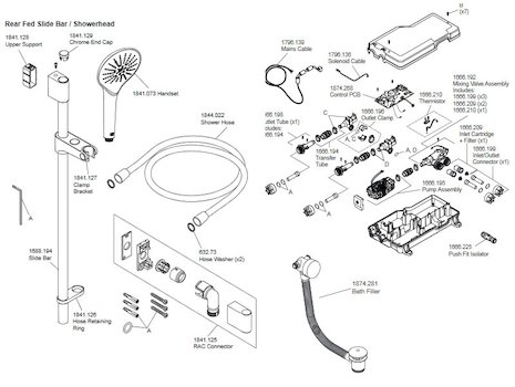 Mira Mode Dual Bath Fill/Digital Shower - Pumped (1.1874.012) spares breakdown diagram