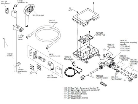Mira Mode Rear Fed Digital Shower - High Pressure (1.1874.003) spares breakdown diagram