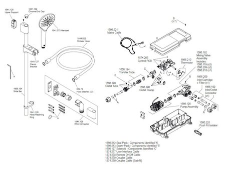 Mira Mode Rear Fed Digital Shower - Pumped (1.1874.004) spares breakdown diagram