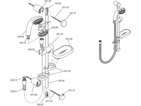 Mira React shower fittings 07/00 - 06/04 (L87B) spares breakdown diagram