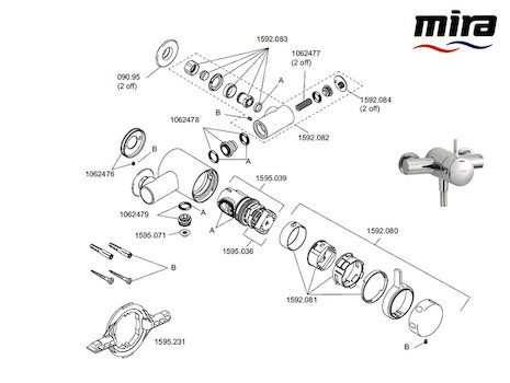 Mira Select (2007-current) EV (1.1592.005) spares breakdown diagram
