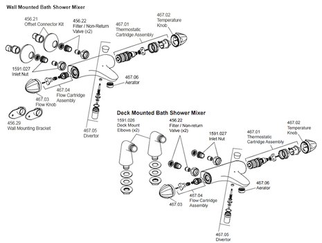 Mira Verve bath shower mixer spares breakdown diagram
