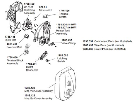 Mira Vie MK2 Electric Shower 9.5kW - White/Chrome (1.1788.005) spares breakdown diagram