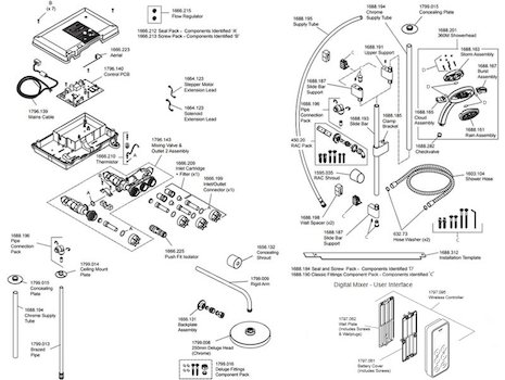 Mira Vision Dual Ceiling Fed Digital Shower - High Pressure (1.1797.101) spares breakdown diagram