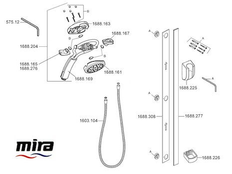 Mira 360 Magnetic fittings - Black/chrome (1.1688.006) spares breakdown diagram