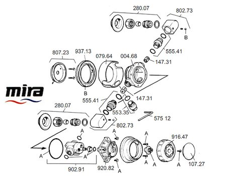 Mira 415 (1991-1993) (415) spares breakdown diagram