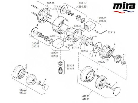 Mira 415 (1993-2001) spares breakdown diagram