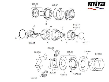 Mira 415 B (1985-1991) spares breakdown diagram