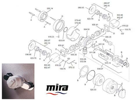 Mira 88 Exposed spares breakdown diagram