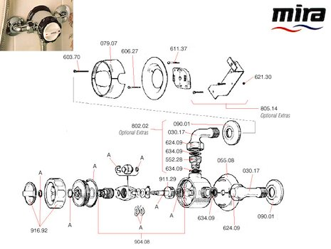 Mira 8 (1964-1984) spares breakdown diagram